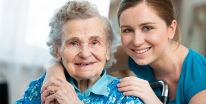 an image of a old woman and a young woman together